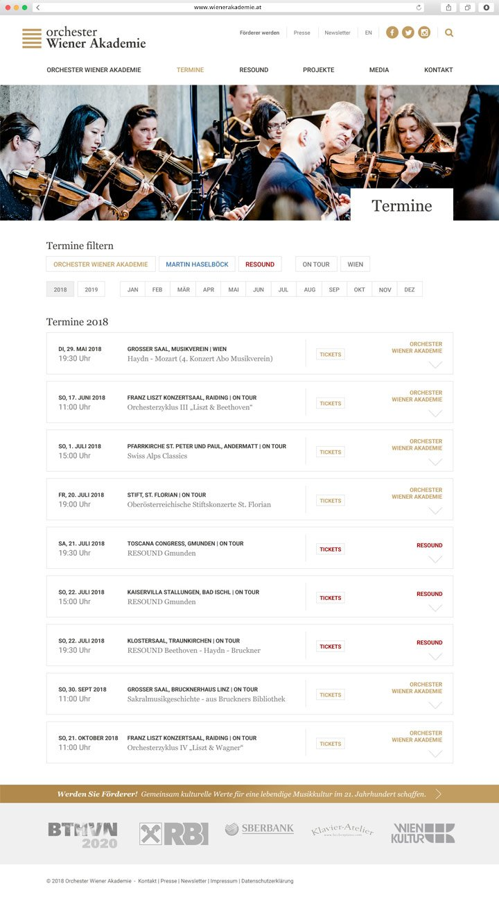 Website Orchester Wiener Akademie Screenshot