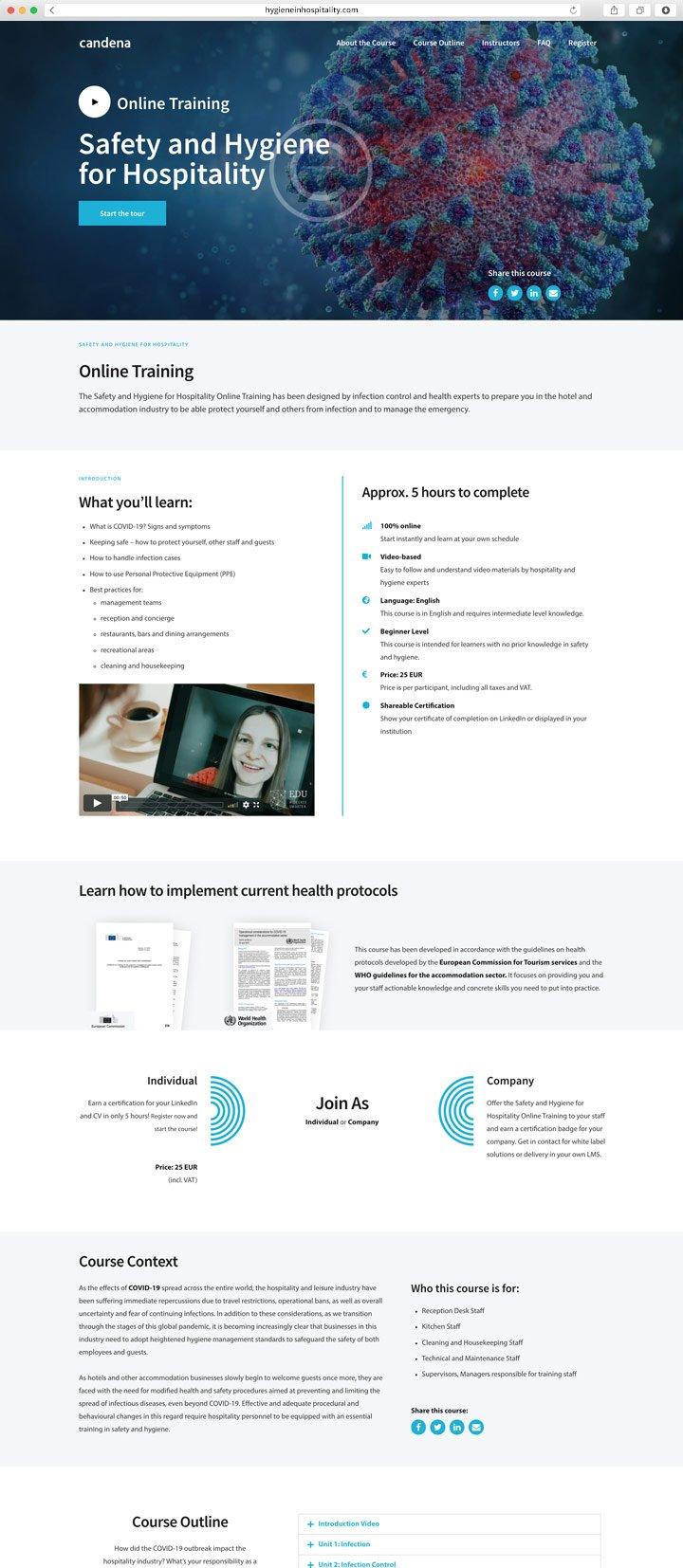 Website Hygiene in Hospitality Screenshot