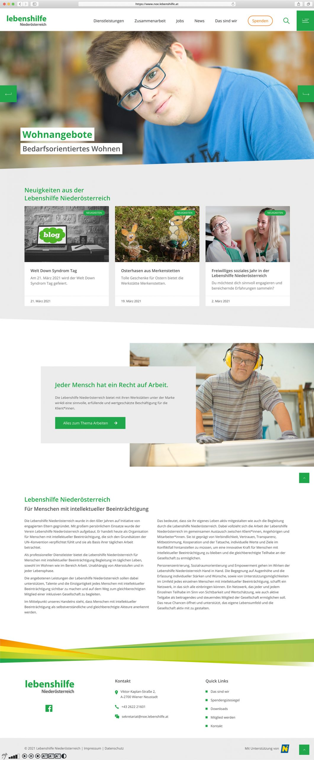 Lebenshilfe Website Screenshot Website