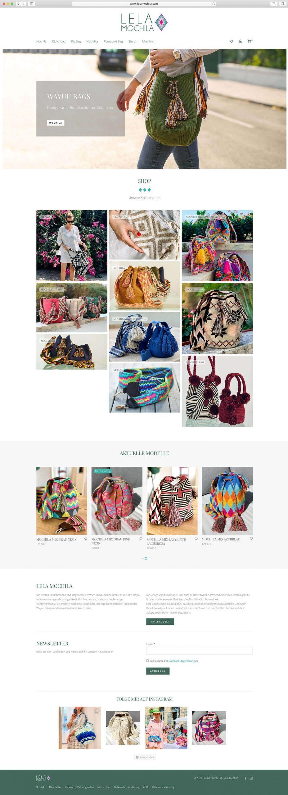Lela Mochila Website Screenshot
